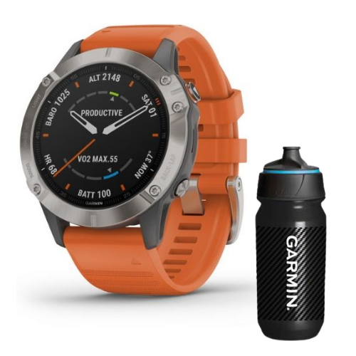 [INN03433] Combo SmartWatch Garmin Fenix 6 Sapphire + Botella Garmin Carbon 500 ML